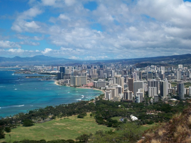 La baia di Honolulu vista dal Diamon Head